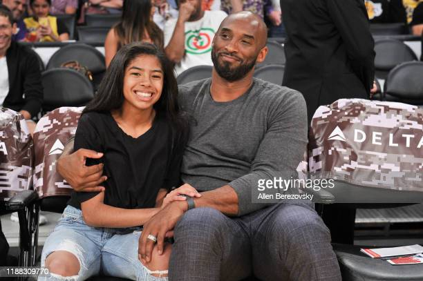 Kobe Bryant and his daughter Gianna Bryant attend a basketball game between the Los Angeles Lakers and the Atlanta Hawks at Staples Center on...