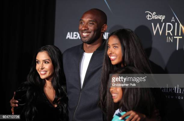 "Kobe Bryant and his family attend the premiere of Disney's ""A Wrinkle In Time"" at the El Capitan Theatre on February 26, 2018 in Los Angeles,..."