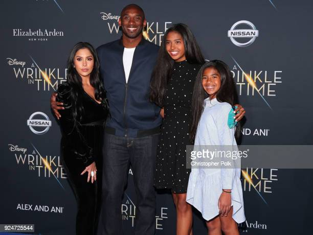 """Kobe Bryant and his family attend the premiere of Disney's """"A Wrinkle In Time"""" at the El Capitan Theatre on February 26, 2018 in Los Angeles,..."""