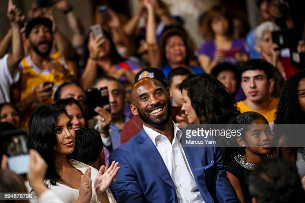 Kobe Bryant and his family his wife Vanessa Laine Bryant left and daughters Gianna Maria Onore Bryant right and Natalia Diamante Bryant far right at...