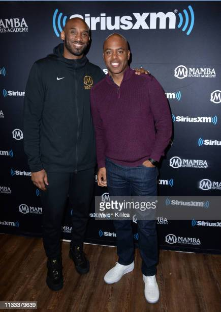 Kobe Bryant and Kevin Frazier attend SiriusXM Presents A Town Hall With NBA Legend Kobe Bryant at the Mamba Sports Academy on March 28 2019 in...