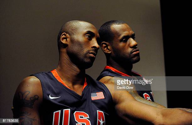 Kobe Bryant and LeBron James of the USA Basketball Senior Men's Team pose for photographs on a photo shoot during there Media Tour on June 30 2008 at...
