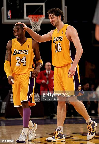 Kobe Bryant and Pau Gasol of the Los Angeles Lakers celebrate during the game with the Minnesota Timberwolves on March 19, 2010 at Staples Center in...