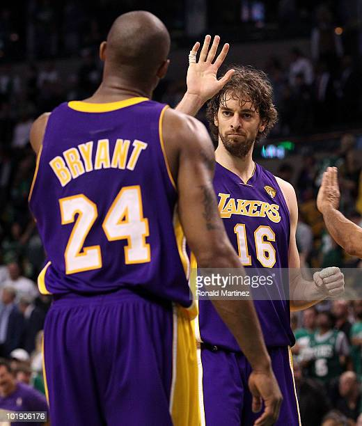 Kobe Bryant and Pau Gasol of the Los Angeles Lakers celebrate in the final moments of the Lakers' win over the Boston Celtics in Game Three of the...