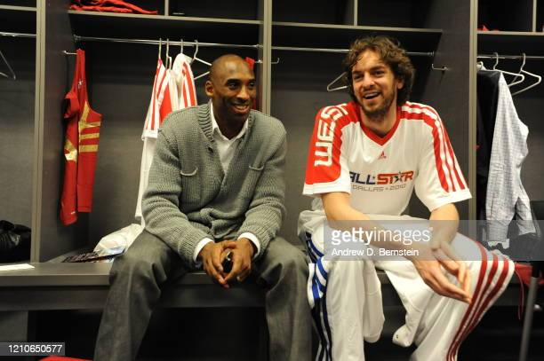 Kobe Bryant and Pau Gasol of the Western Conference during the NBA All-Star Game, part of 2010 NBA All-Star Weekend on February 14, 2010 at Cowboys...