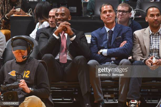 Kobe Bryant and Rob Pelinka enjoy the game between the Denver Nuggets and Los Angeles Lakers on October 25 2018 at STAPLES Center in Los Angeles...