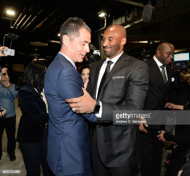 Kobe Bryant and Rob Pelinka greet before the game between the Golden State Warriors and the Los Angeles Lakers on December 18 2017 at STAPLES Center...