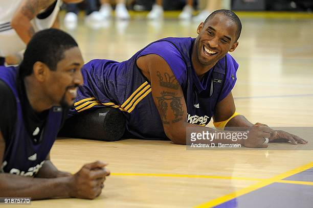Kobe Bryant and Ron Artest of the Los Angeles Lakers laugh during the Lakers live practice on October 1, 2009 at Toyota Sports Center in El Segundo,...