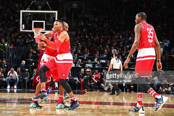 Kobe Bryant and Russell Westbrook of the Western Conference celebrate after the NBA AllStar Game as part of 2016 NBA AllStar Weekend on February 14...