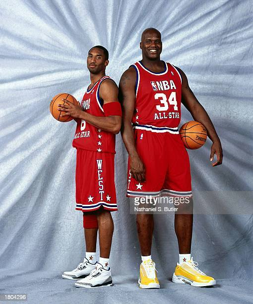 Kobe Bryant and Shaquille O'Neal of the Western Conference AllStars pose for a portrait prior to the 52nd NBA AllStar Game at the Phillips Arena on...