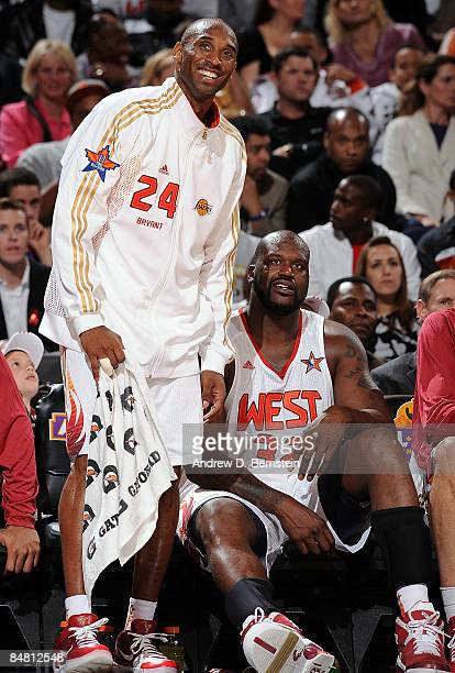 Kobe Bryant and Shaquille O'Neal of the Western Conference sit on the bench during the 58th NBA All-Star Game, part of 2009 NBA All-Star Weekend, at...