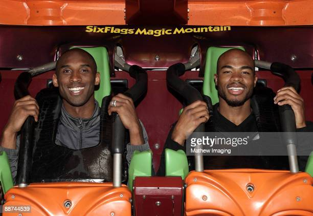Kobe Bryant and sports personality Corey Maggette ride Tatsu the flying coaster at Six Flags Magic Mountain on June 28 2009 in Valencia California