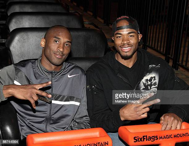 Kobe Bryant and sports personality Corey Maggette ride Terminator Salvation The Ride at Six Flags Magic Mountain on June 28 2009 in Valencia...