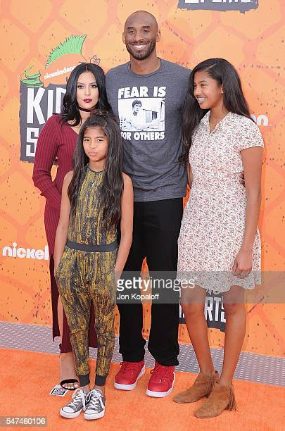Kobe Bryant and Vanessa Laine Bryant, Gianna Maria-Onore Bryant, and Natalia Diamante Bryant arrive at Nickelodeon Kids' Choice Sports Awards 2016 at...