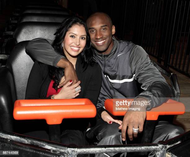 Kobe Bryant and wife Vanessa Bryant on Terminator Salvation The Ride at Six Flags Magic Mountain on June 28 2009 in Valencia California