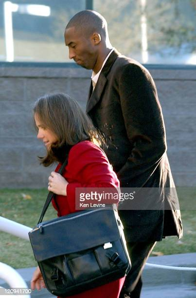 Kobe Bryant arrives at the Eagle County Courthouse with his attorney Pamela Mackey October 15 in Eagle Colorado