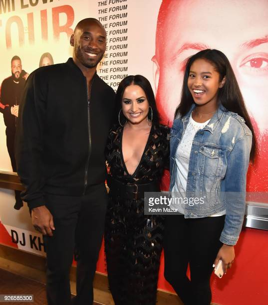 Kobe Bryant Demi Lovato and Natalia Diamante Bryant attend the Tell Me You Love Me World Tour at The Forum on March 2 2018 in Inglewood California
