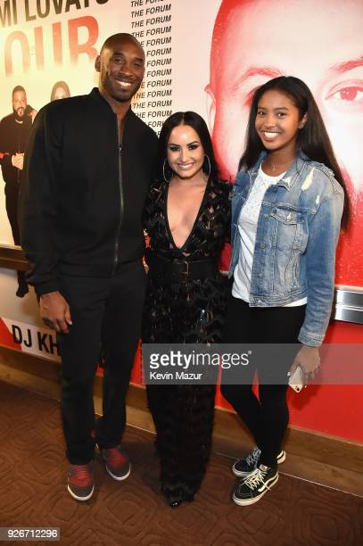 "Kobe Bryant, Demi Lovato, and Natalia Diamante Bryant attend the ""Tell Me You Love Me"" World Tour at The Forum on March 2, 2018 in Inglewood,..."