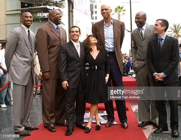 Kobe Bryant Earvin Magic Johnson Mayor Antonio R Villaraigosa Paula Abdul Kareem AbdulJabbar James Worthy and Eric Garcetti