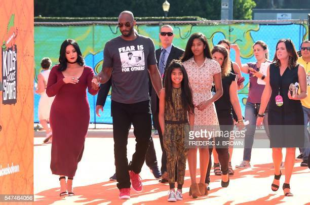 Kobe Bryant, formerly of the NBA's Los Angeles Lakers, arrives with his family for Nickelodeon's Kids Choice Sports 2016 at UCLA's Pauley Pavilion on...