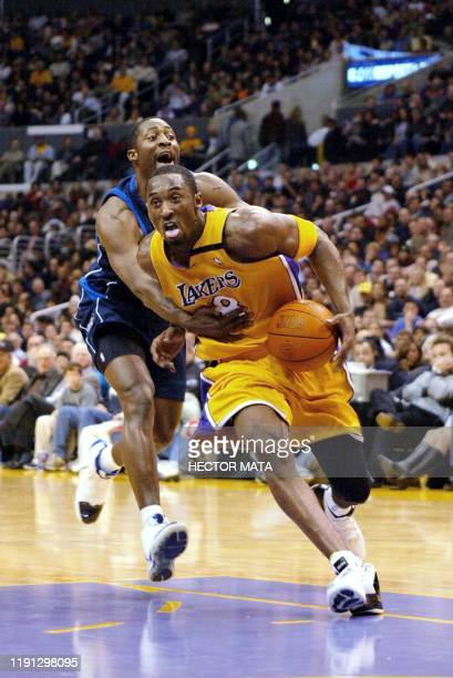 Kobe Bryant from the Los Angeles Lakers drives during the second quarter of his game against Dallas Mavericks at the Staples Center in Los Angeles 06...