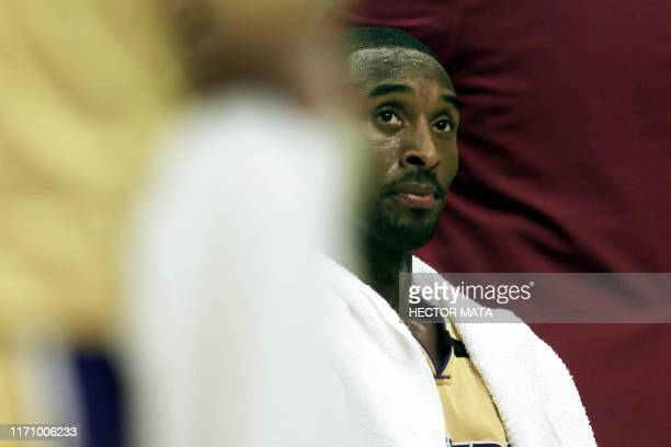 Kobe Bryant from the Los Angeles Lakers looks at the court during the first quarter of his game against the Dallas Mavericks at the Staples Center in...