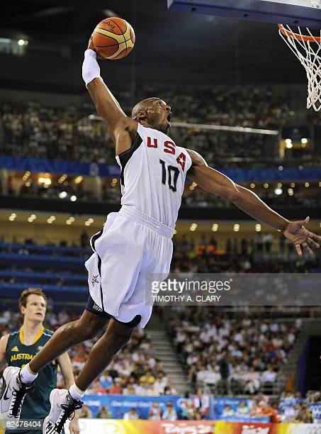 US Kobe Bryant goes for a dunk during the men's quarterfinal basketball match USA vs Australia on August 20 2008 at the Olympic basketball arena in...