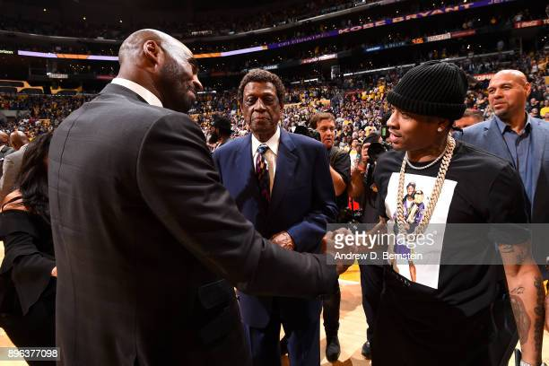 Kobe Bryant greets Allen Iverson before his jersey retirement ceremony on December 18 2017 at STAPLES Center in Los Angeles California NOTE TO USER...