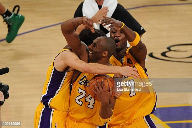 Kobe Bryant Lamar Odom and Sasha Vujacic of the Los Angeles Lakers celebrate after winning the 2010 NBA Championship 8379 against the Boston Celtics...