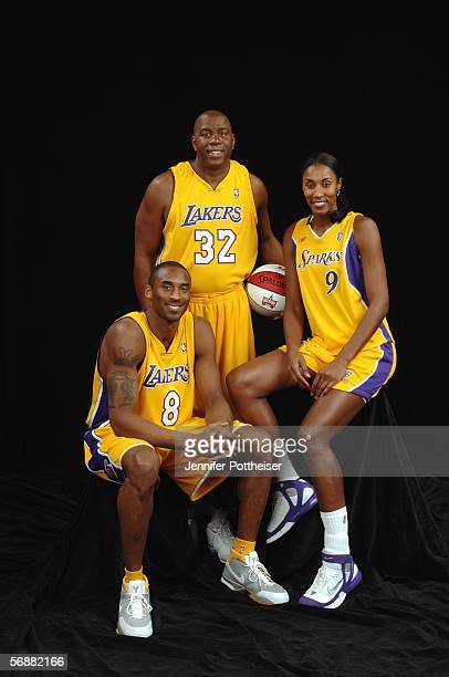 Kobe Bryant Magic Johnson and Lisa Leslie of the Los Angeles Team pose for a portrait prior to the 2006 Radio Shack Shooting Stars on February 18...