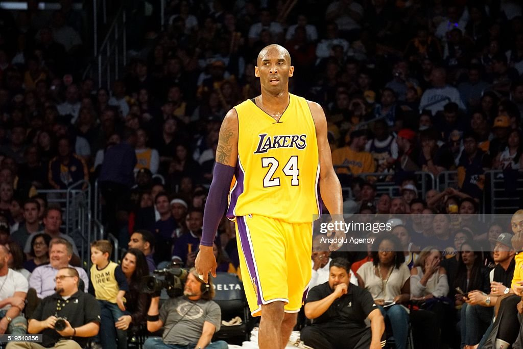 Kobe Bryant of Los Angeles Lakers gestures during the NBA match between Los Angeles Clippers and Los Angeles Lakers at Staples Center, in Los Angeles, USA on April 6, 2016.