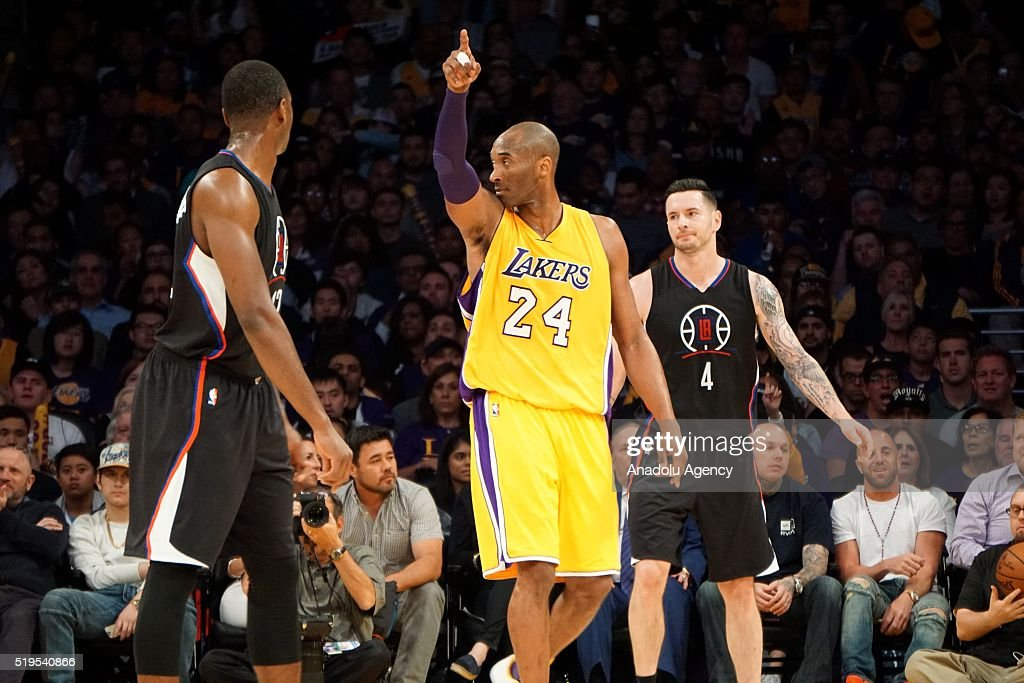 Kobe Bryant (C) of Los Angeles Lakers gestures during the NBA match between Los Angeles Clippers and Los Angeles Lakers at Staples Center, in Los Angeles, USA on April 6, 2016.