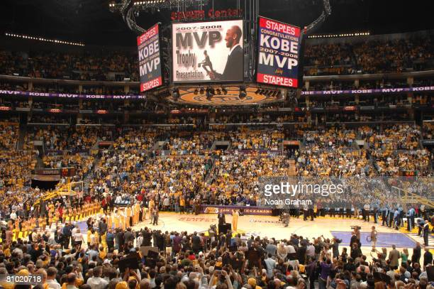 Kobe Bryant of the Los Angeles is presented with the 200708 NBA Most Valuable Player award before the Lakers take on the Utah Jazz in Game Two of the...
