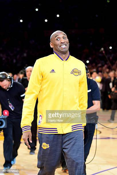 Kobe Bryant of the Los Angeles Lakers acknowledges the crowd before taking on the Utah Jazz in Bryant's final NBA game at Staples Center on April 13...