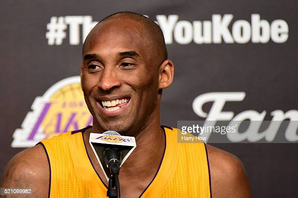 Kobe Bryant of the Los Angeles Lakers address the media during the post game news conference after scoring 60 point in his final NBA game at Staples...