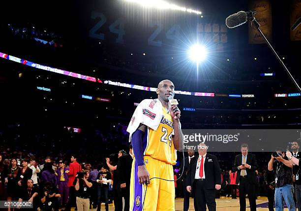Kobe Bryant of the Los Angeles Lakers addresses the crowd after scoring 60 points in his final NBA game at Staples Center on April 13 2016 in Los...
