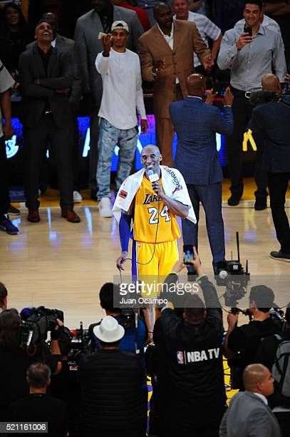 Kobe Bryant of the Los Angeles Lakers addresses the fans after the game against the Utah Jazz at STAPLES Center on April 13 2016 in Los Angeles...