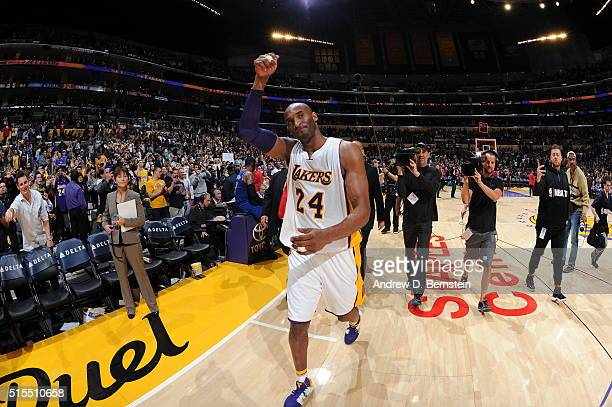 Kobe Bryant of the Los Angeles Lakers after the game against the New York Knicks on March 13 2016 at STAPLES Center in Los Angeles California NOTE TO...