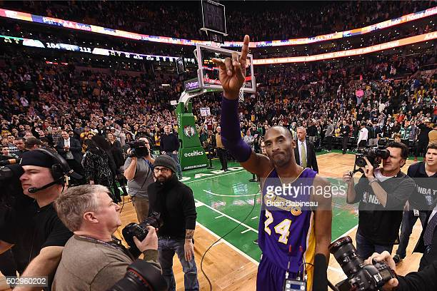 Kobe Bryant of the Los Angeles Lakers after the game against the Boston Celtics on December 30 2015 at the TD Garden in Boston Massachusetts NOTE TO...