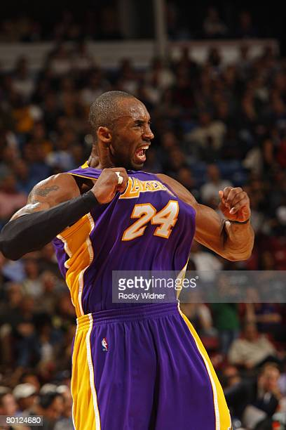 Kobe Bryant of the Los Angeles Lakers against the Sacramento Kings on March 4 2008 at ARCO Arena in Sacramento California NOTE TO USER User expressly...
