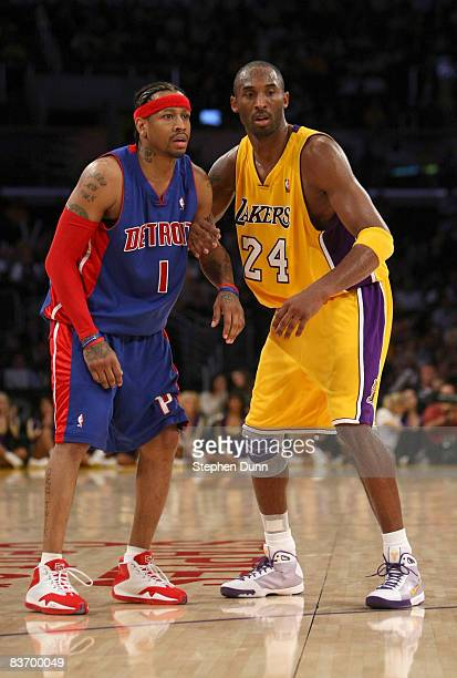 Kobe Bryant of the Los Angeles Lakers and Allen Iverson of the Detroit Pistons get set for play on November 14 2008 at Staples Center in Los Angeles...