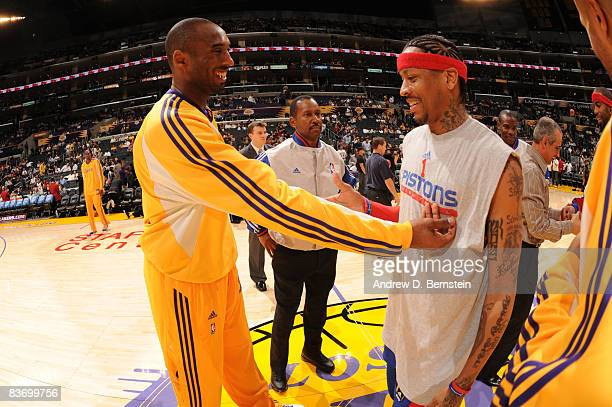 Kobe Bryant of the Los Angeles Lakers and Allen Iverson of the Detroit Pistons greet each other prior to their game at Staples Center on November 14...