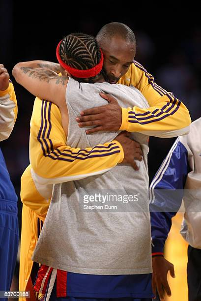 Kobe Bryant of the Los Angeles Lakers and Allen Iverson of the Detroit Pistons embrace before the game on November 14 2008 at Staples Center in Los...