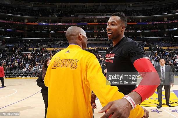 Kobe Bryant of the Los Angeles Lakers and Dwight Howard of the Houston Rockets share a hug after the game on December 17 2015 at STAPLES Center in...