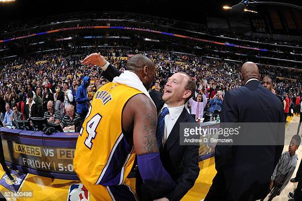 Kobe Bryant of the Los Angeles Lakers and Lawrence Frank of the Los Angeles Clippers are seen after the game at STAPLES Center on April 6 2016 in Los...