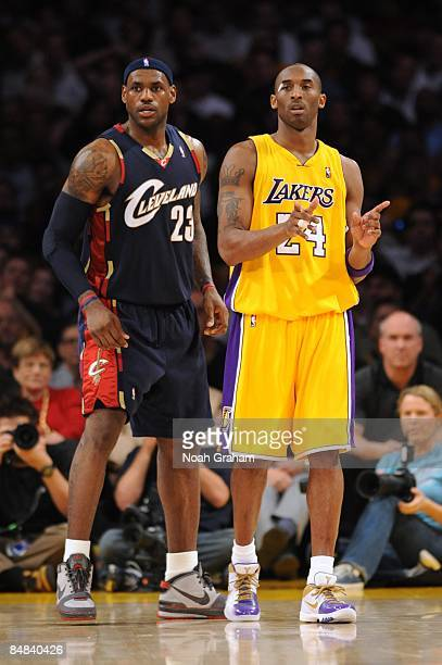 Kobe Bryant of the Los Angeles Lakers and LeBron James of the Cleveland Cavaliers look on during the game at Staples Center on January 19 2009 in Los...