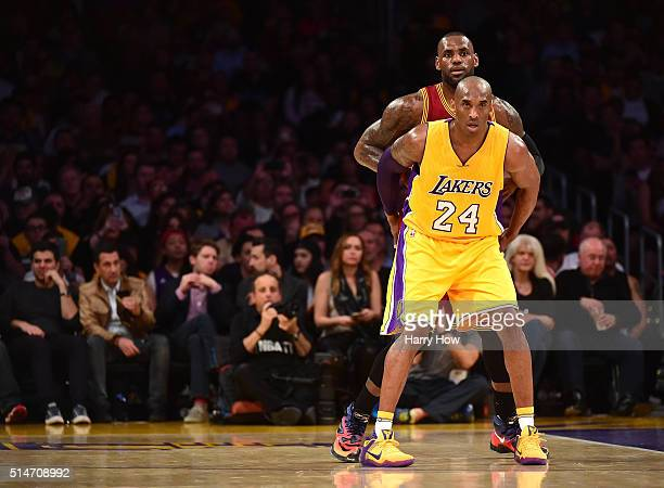 Kobe Bryant of the Los Angeles Lakers and LeBron James of the Cleveland Cavaliers match up during the first half at Staples Center on March 10 2016...