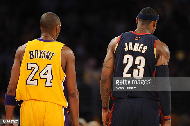 Kobe Bryant of the Los Angeles Lakers and LeBron James of the Cleveland Cavaliers stand together during their game at Staples Center on January 19,...