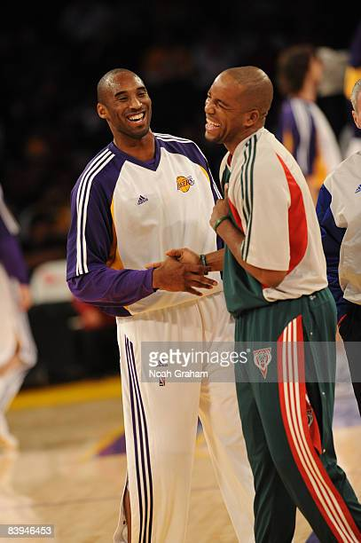 Kobe Bryant of the Los Angeles Lakers and Michael Redd of the Milwaukee Bucks share a laugh before their game at Staples Center on December 7 2008 in...