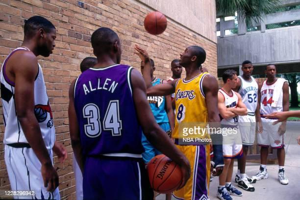 Kobe Bryant of the Los Angeles Lakers and Ray Allen of the Milwaukee Bucks prepare for a portrait during the 1996 NBA Rookie Photo Shoot on September...
